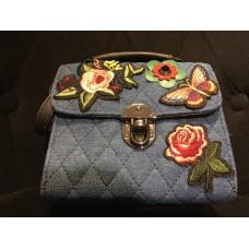 Jeans Checkered Sling Bag (Blue)